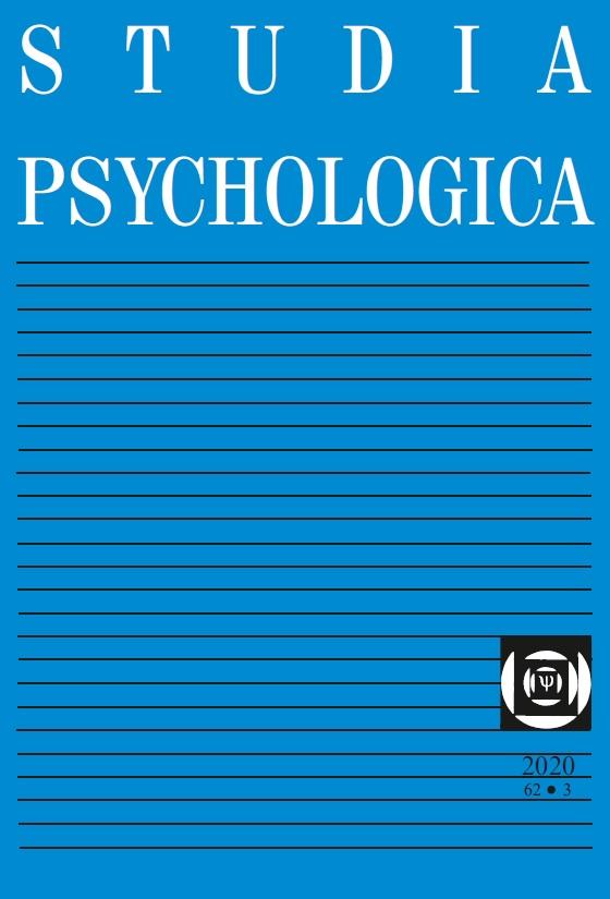 View Vol. 62 No. 3 (2020): Studia Psychologica