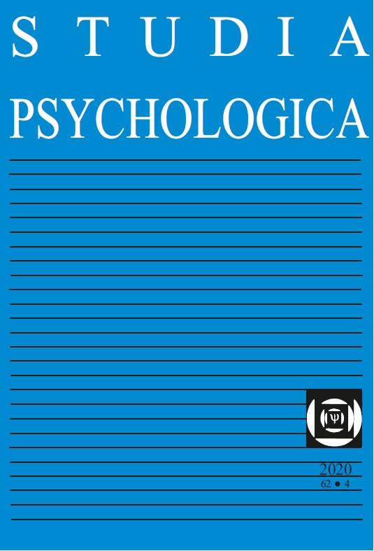 View Vol. 62 No. 4 (2020): Studia Psychologica
