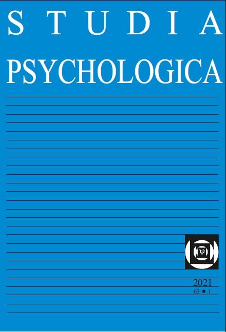 View Vol. 63 No. 1 (2021): Studia Psychologica