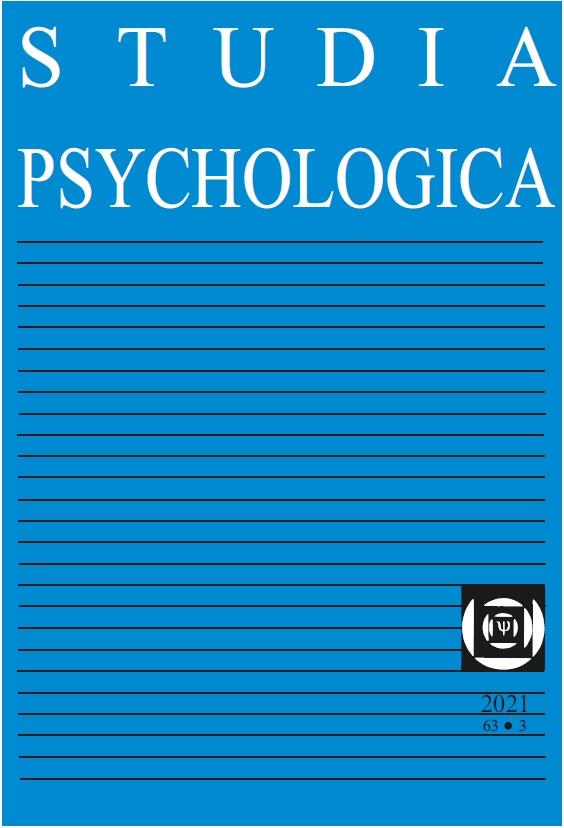 View Vol. 63 No. 3 (2021): Studia Psychologica