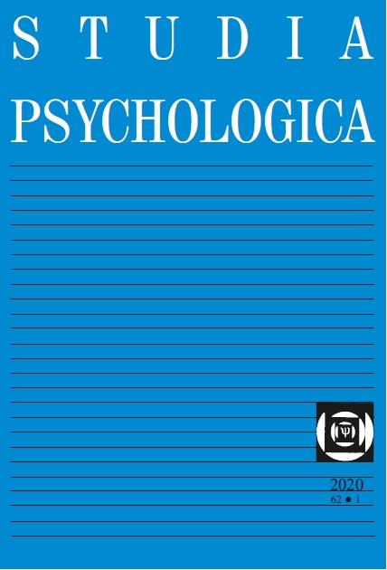 View Vol. 62 No. 1 (2020): Studia Psychologica